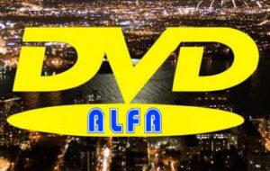 """00 Wypożyczalnia filmów DVD """"ALFA"""" 45-304 Opole ul. Sieradzka 3 Malinka logo"""