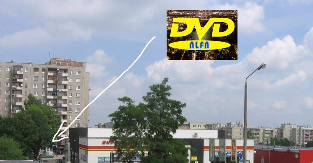 """09 Wypożyczalnia filmów DVD """"ALFA"""" 45-304 Opole ul. Sieradzka 3 Malinka logo"""
